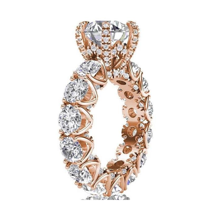 LESF bijoux de luxe bague femmes 4 carats taille ronde Premium Zircon 925 en argent Sterling mode bague de fiançailles bienvenue personnalisé - 4