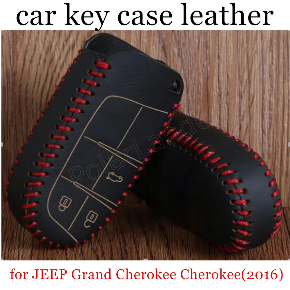 QING XIN's store new style Car key Case cover Hand sewing DIY Genuine leather fit for JEEP Grand Cherokee(2016)