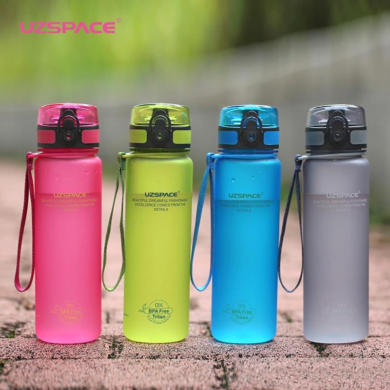 Uzspace Kunststoff Wasser Flaschen Tritan Material Drink Protein Shaker Camping Wandern Sport Flasche für wasser 350 ml 500 ml 1000 ml