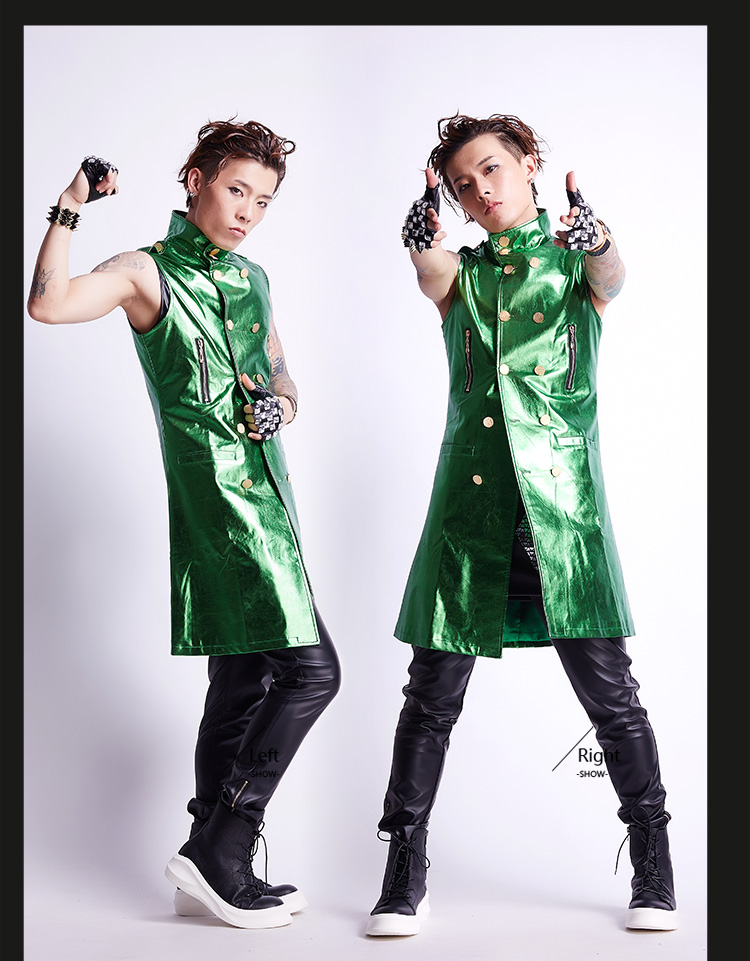 Male Costume Male Rock Sequin VEST COSTUME Male Korean Long Coat Jacket Night Bar DJ Stage ...