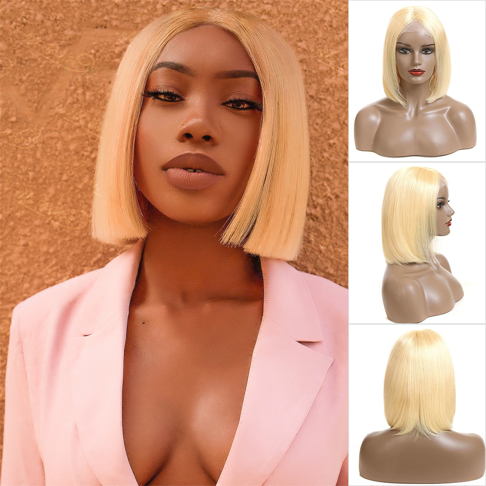 Short Human Hair Wigs For Black Women Ali Grace Peruvian Remy Hair Lace Front Wigs With Pre Plucked Hairline Blunt Cut Bob Wigs