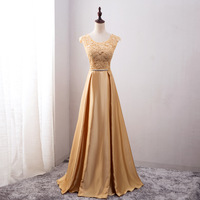 Long Lace Embroidery Evening Dresses Round Neck Sleeveless Appliques Bow Prom Gowns For Wedding V Back Pleated Vestido de noche