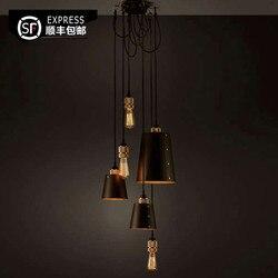 Nowoczesne przemysłowe lampy wiszące pająk do pokoju nurkowego/restauracji lampy do zawieszenia w kuchni E27 lampy wiszące LED w Wiszące lampki od Lampy i oświetlenie na