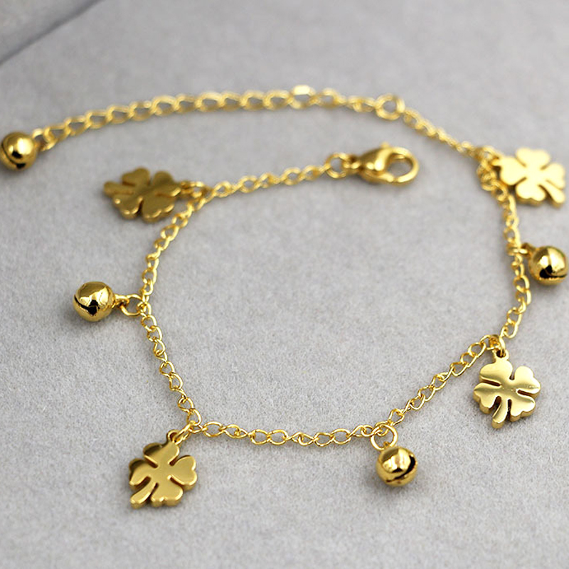 New Arrival Flowers And Bell Anklets For Women Titanium Steel Gold Rose Gold Silver Colors Women Jewelry Anklets Wholesale