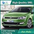Frete grátis! 12 V 6000 k LED DRL Daytime running luz para VW Polo 2011-2013 Nevoeiro quadro lâmpada luz de Nevoeiro luz Car styling