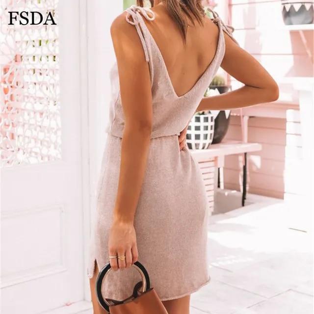 FSDA Elegant Mini Casual Dress Backless Solid Slit Wrap Deep V Neck Sashes Spaghetti Strap Sleeveless Summer Dresses Beach Women