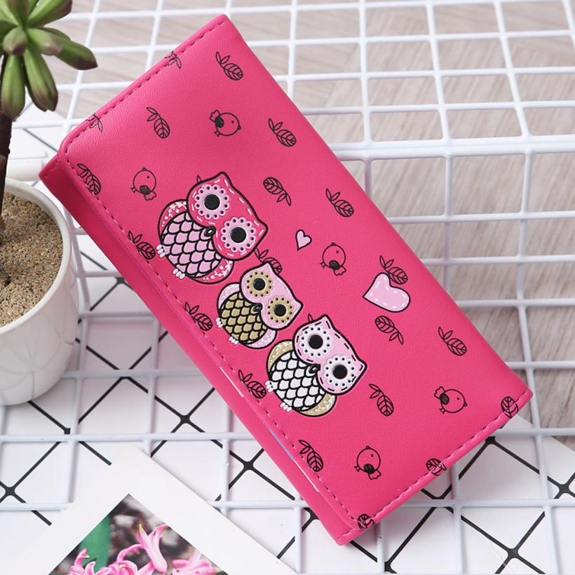 Women Simple Retro Owl Printing Long Wallet Coin Purse Card Holders Handbag wallet female Aug 9 5