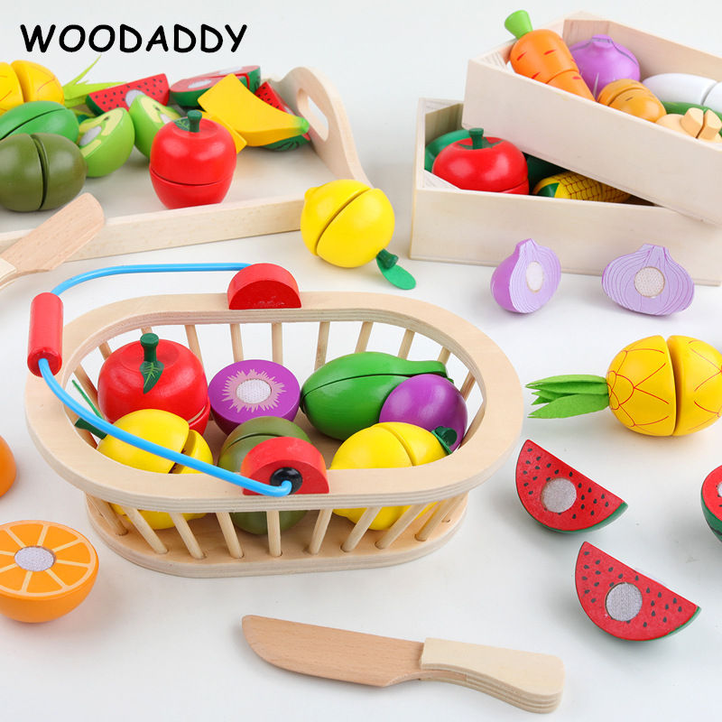 WOODADDY Simulation Vegetable/Fruits Cutting Set Wooden Toys For Kids Wood Tray/Basket Food Kitchen Toys Educational Girls Gift
