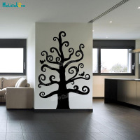 Tree Wall Sticker Monochrome Swirly Tree Decals Home Decoration For Living Room Children Vinyl Self adhesive Art Mural YT227