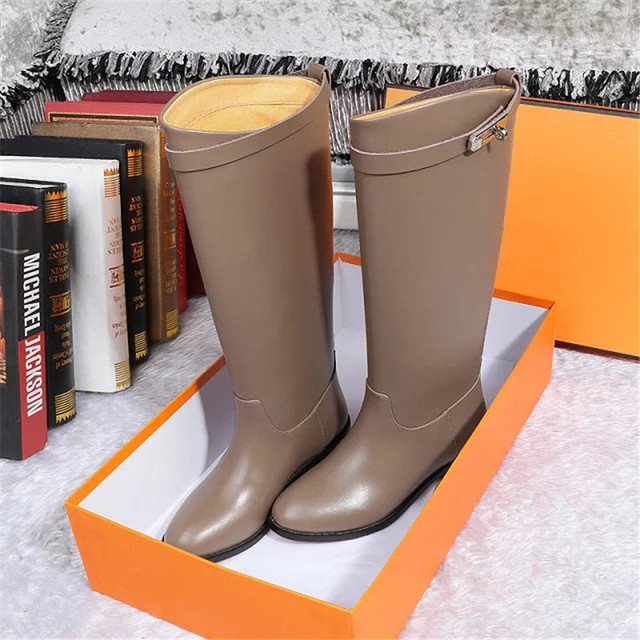 luxury designer boots women kelly belt boots genuine leahter mid calf lady classical shoes branded fashion model really leather