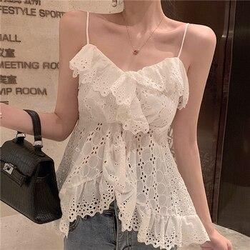 blusas feminina spring summer style autumn 2019 korean women sexy t shirts white lace flower condole top female K0013