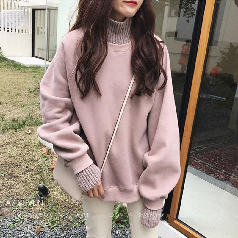 a0dc32444785 Hiver Sweat lotus Pink Tricoté Hoodies Patchwork Noir Pull Roulé 2018 Col  Lâche shirts Toison Femmes ...