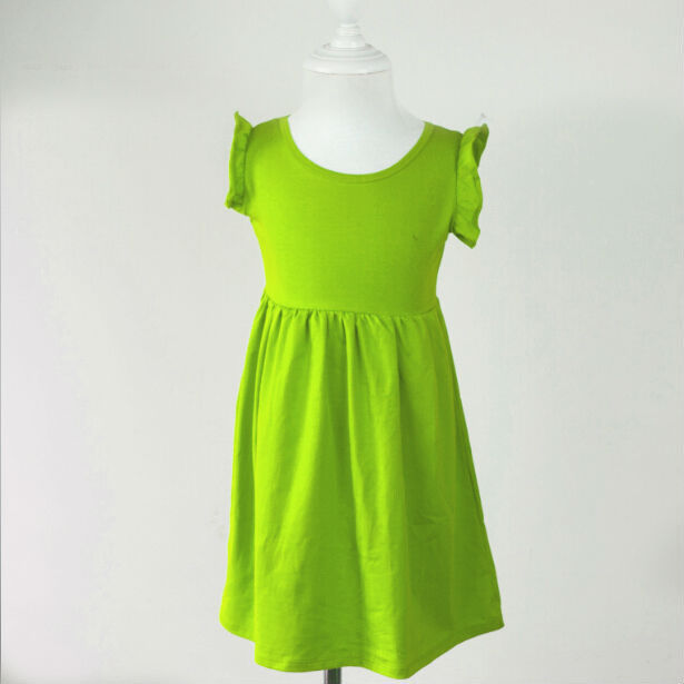 05df3070e0c 2015 New Style Ruffle Knitted Puff Sleeve Children Girls Summer Organic  Cotton Dress free shipping