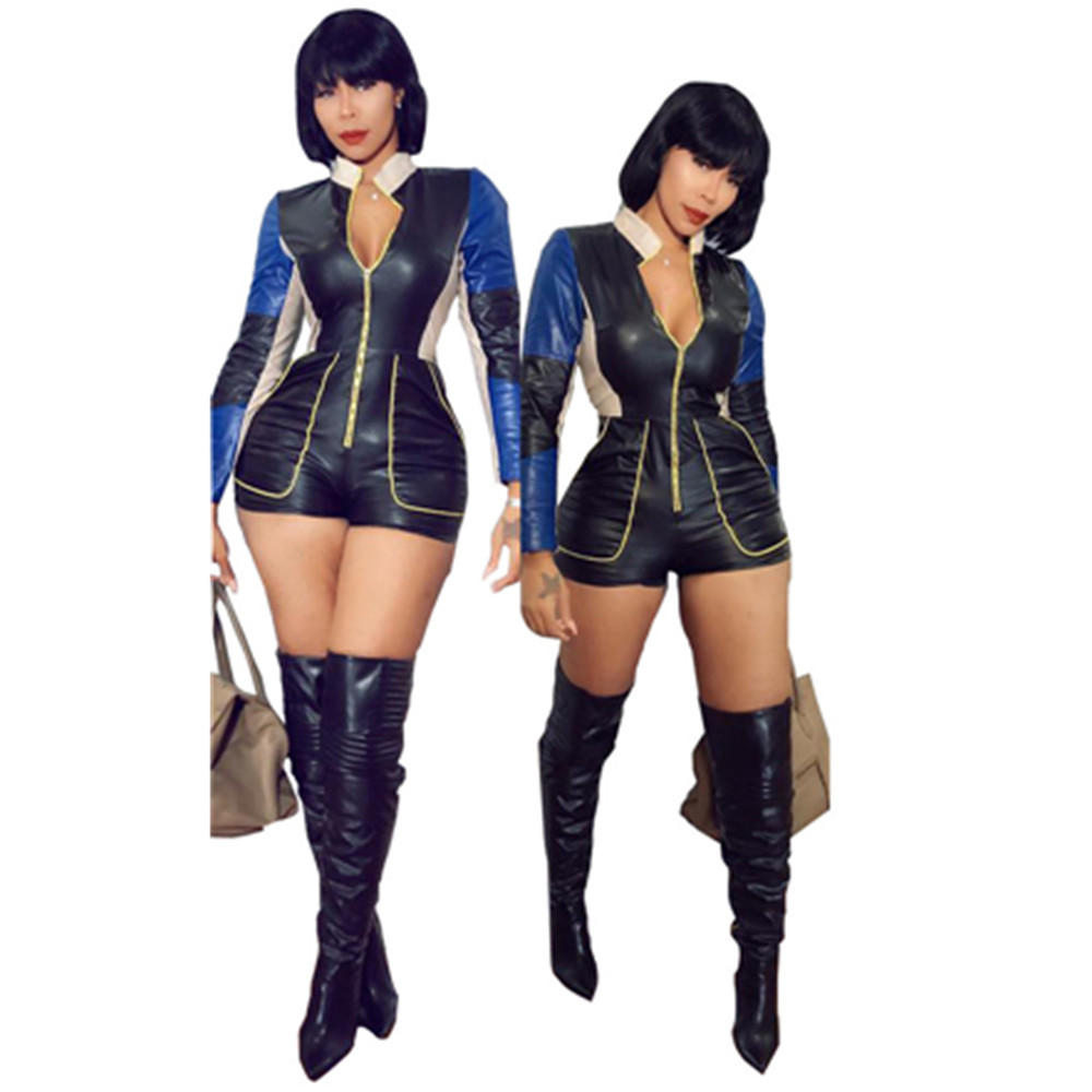 Women's Clothing Reliable New Pu Leather Patchwork Short Jumpsuit Long Sleeve Skinny Bodysuit Women Moto Biker Playsuit Ldn8182 Removing Obstruction