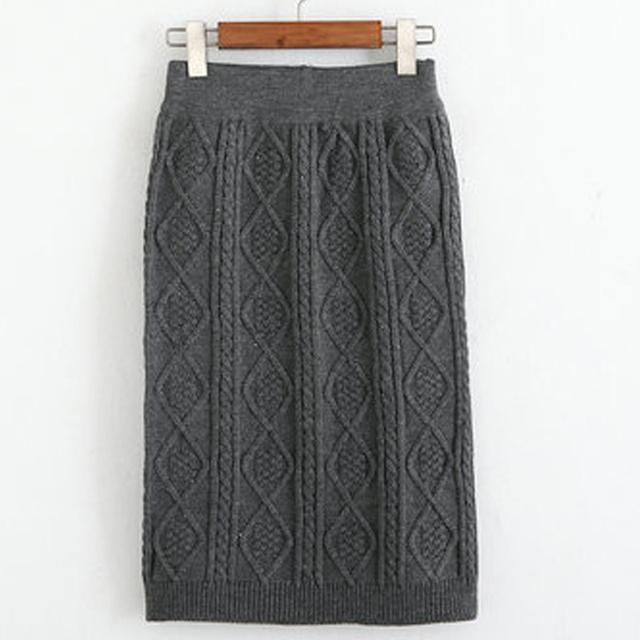 Otoño invierno Las Mujeres de Cintura Alta de La Rodilla-longitud de Giro Tejer Suéter Falda Cable Curvas de Punto Faldas Lápiz Nuevo Envío Libre