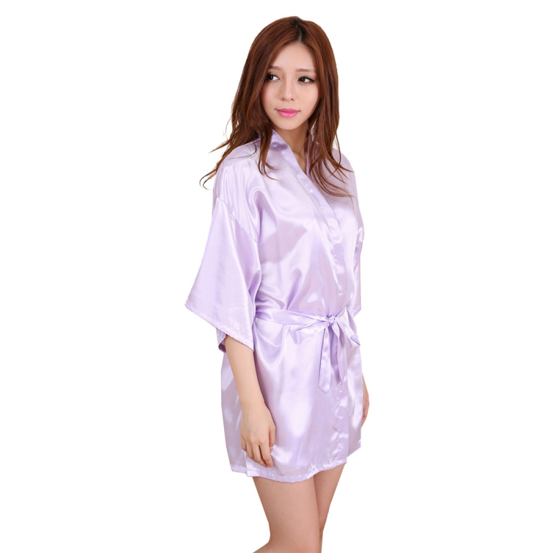 Women's Sleepwear Nightgown Satin Robes Belt Nightdress Babydoll H34
