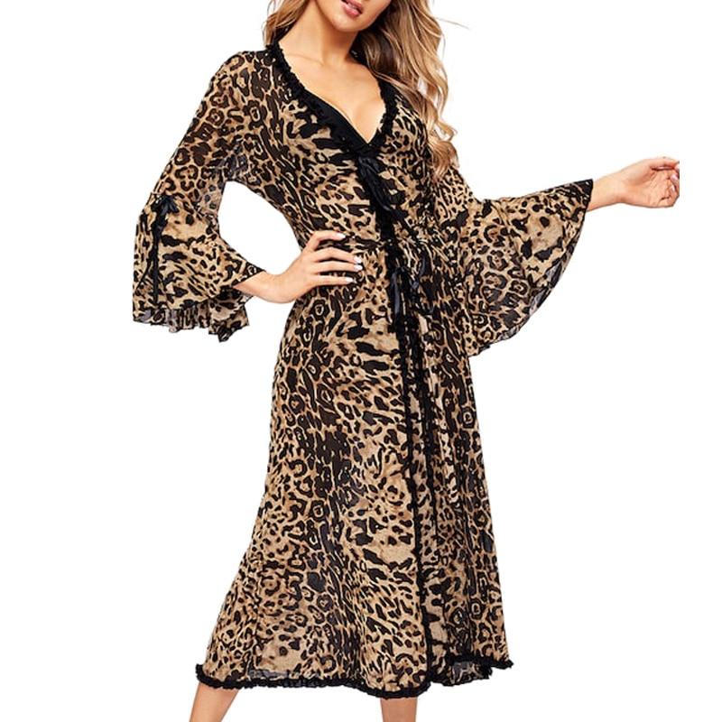 Women Sexy Bathrobe Leopard Kimono Winter Autumn Casual Sleepwear Mesh Nightwear Elegant Bathroom Spa RobeRobes   -