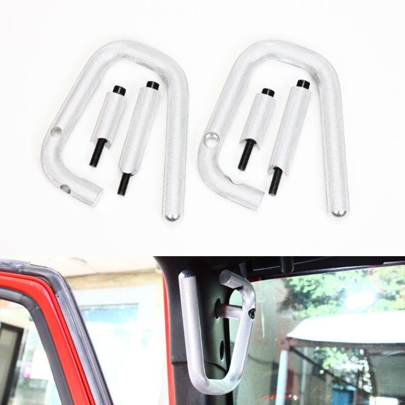 BBQ@FUKA Silver Pair Car Grab Bars 2&4 Door Front Grab Handles Fit For Jeep Wrangler Rubicon JK 2007 2015 Car accessory
