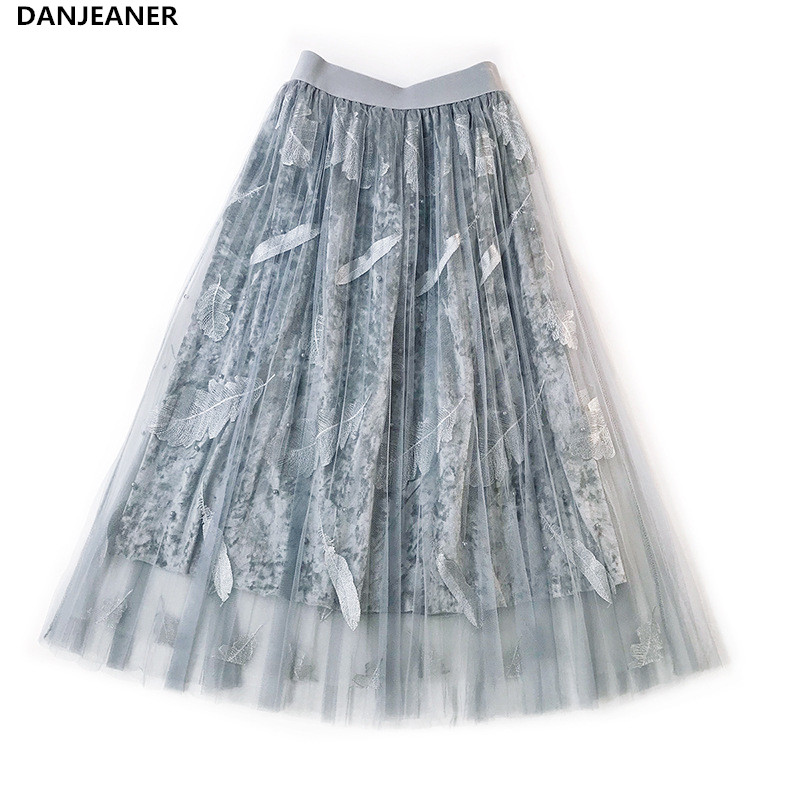 DANJEANER 2019 Women Summer Skirts High Waist Vintage Feathers Embroidery Beads Tulle Skirt Casual Velvet Pleated Skirts