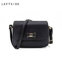 LEFTSIDE Women Bag Bow Pink Black Handbag PU Leather Women S Shoulder Crossbody Bags Ladies Small