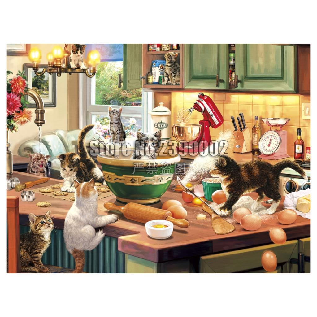 DIY 5D Diamond Painting Cross Stitch Kitten Kitchen Capers Mosaic Embroidery Full Needlework Cats Rhinestone Paintings