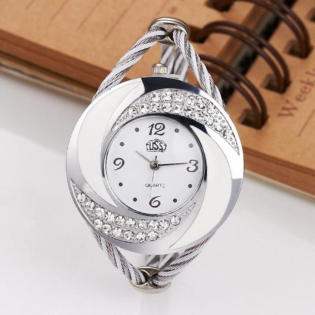 Women Casual Wristwatch 7 Colors Bracelet Round Dial Crystal Quartz Elegant Fash