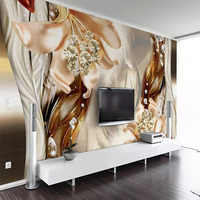 Custom Wall Cloth Modern Dream 3D Embossed Jewelry Flower Mural Wall Papers For Living Room TV Sofa Home Decor 3D Wall Painting