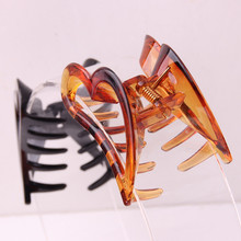 Newest design high quality hollow out heart hair claws girls' shower clips clamp hair pins brown & black 10pcs/lot цена