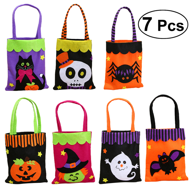 Diy Halloween Trick Or Treat Bags.Us 12 76 40 Off 7 Pcs Halloween Non Woven Fabric Candy Trick Or Treat Bags Tote Bag Portable Handheld Ghost Festival Decorations Kids Halloween In