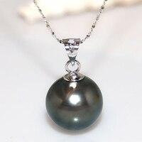 11 12 мм Натуральная круглый черный жемчуг Таити Кулон Цепочки и ожерелья с 14 К белый массивные золотые цепи и залог