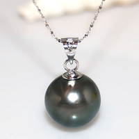 11 12mm Genuine Round Black Tahitian Pearl Pendant Necklace with 14 k White Solid Gold Chain and Bail