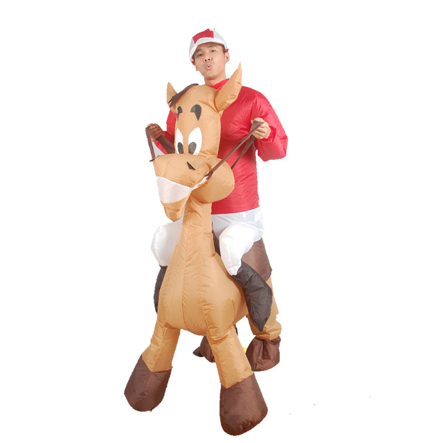 Purim Christmas Costume Inflatable Ride on Jockey and Horse Costume Xmas  Decor Blow Up Jockey Fancy Dress Hen Stag Night Outfit - Purim Christmas Costume Inflatable Ride On Jockey And Horse Costume