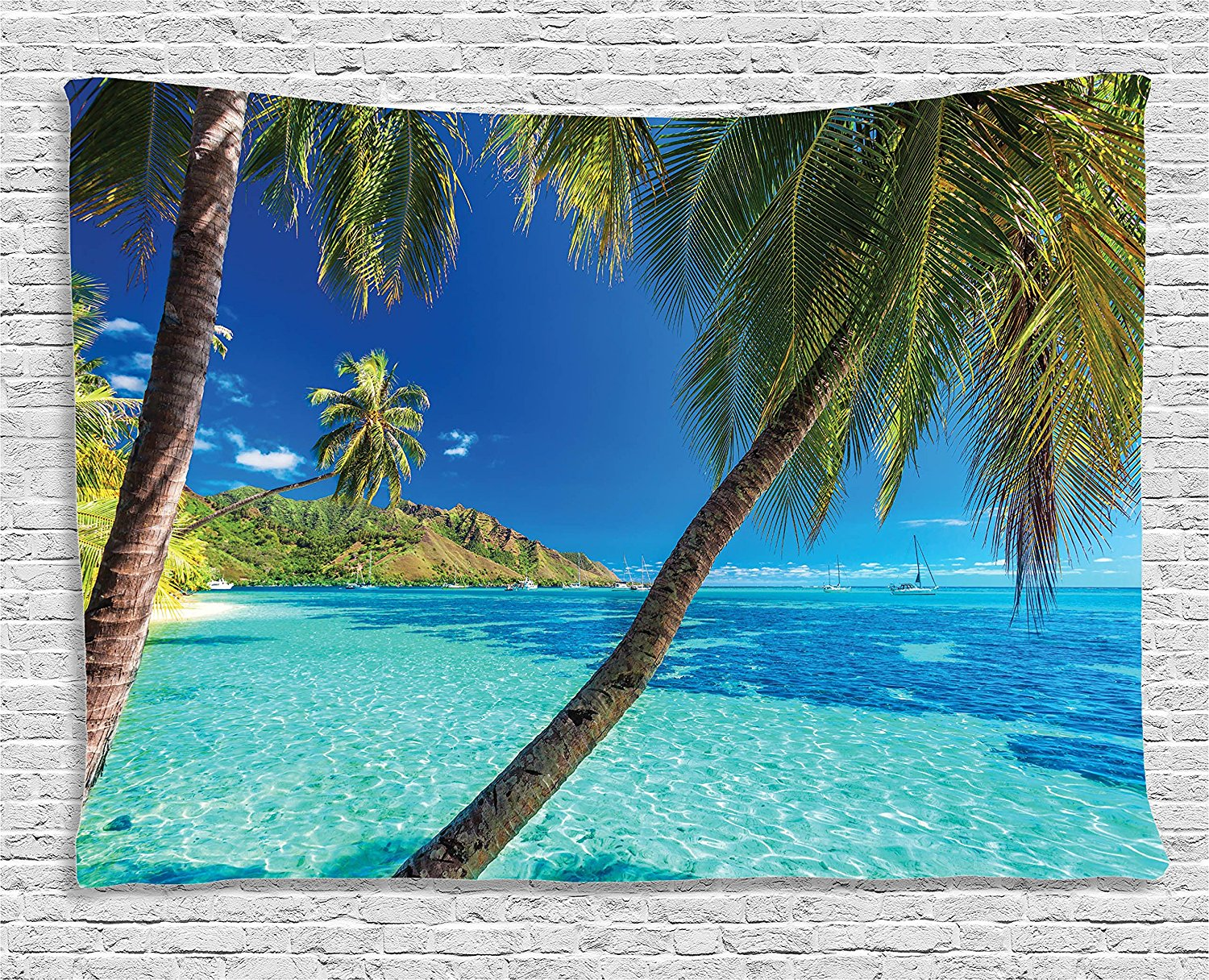 Ocean Decor Tapestry Image Of A Tropical Island With Palm Trees And Bright Sea Beach Theme Print Decor Wall Hanging For Dorm