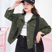 Casual Loose Jeans Jacket Women Frayed Denim Jackets Oversized Coat Spring Autumn Solid Single Breasted Outwear