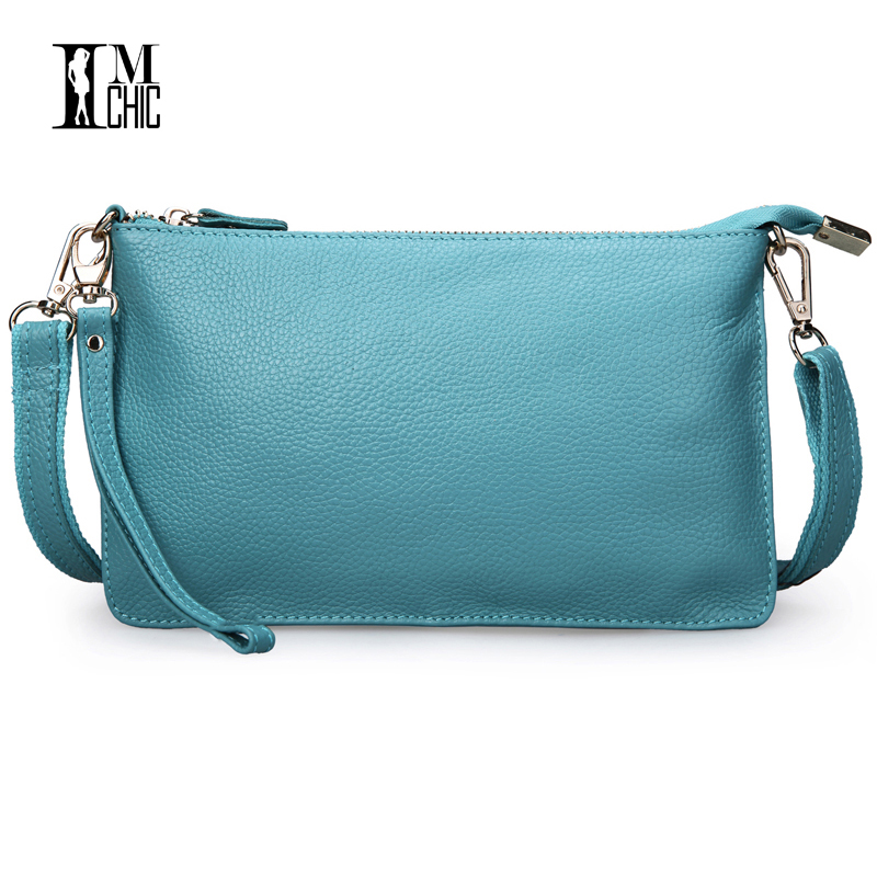 IMCHIC Quality Women Shoulder Bags Genuine Leather Crossbody Handbags Ladies Top Layer Cowhide Small Package Envelope Clutch 908
