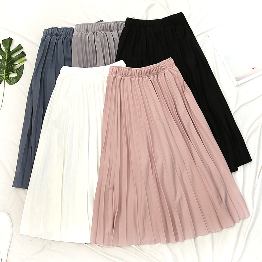 2019 New Spring Summer Women High Waist Solid Color Pleated Skirt Ladies Causal Loose Midi Skirts Students Daily Skirt