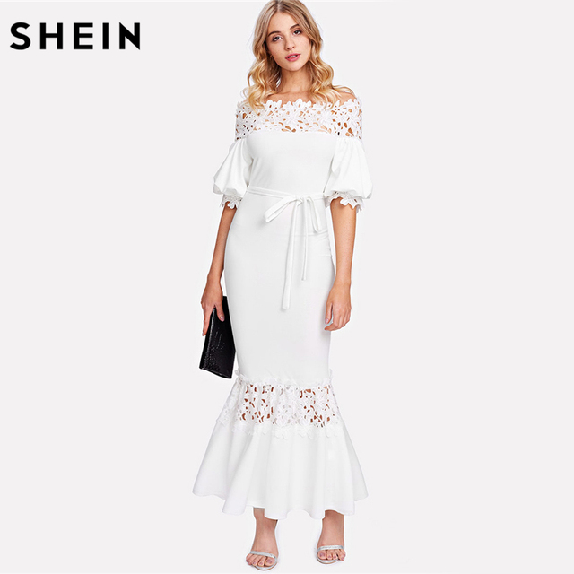 d6ccc7584 SHEIN White Off the Shoulder Bishop Sleeve Sheath Party Dress Half Sleeve Guipure  Lace Panel Self
