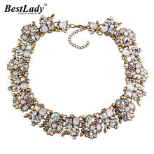 Best lady New Brand White AB Crystal Vintage Gold Color Chunky Statement Necklace Luxury Maxi Choker Necklaces Women Wholesale(China)