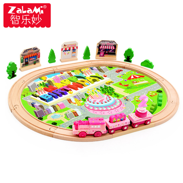 39Pcs Wooden Educational Toys Birthday Gift Electronic City Train Rail Set Toy with Music Locomotive Toy for Baby Boys Girl Kids