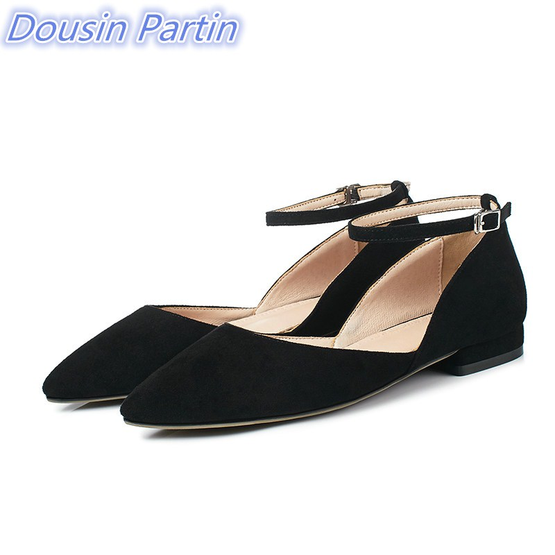 Dousin Partin 2019 Pink Fashion Women Shoes Platform Women Pumps Square Low Heel Flock Buckle Pointed