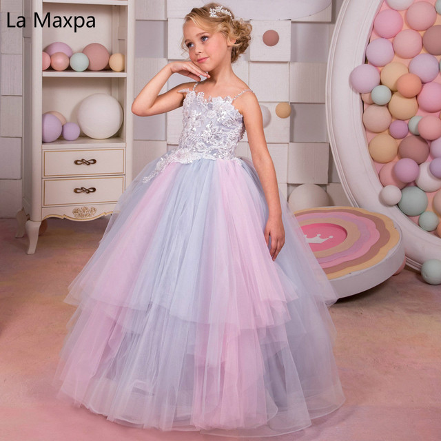 New girls tutu rainbow wedding dress flower children long dance new girls tutu rainbow wedding dress flower children long dance dresses sequin pink clothing children birthday junglespirit Gallery