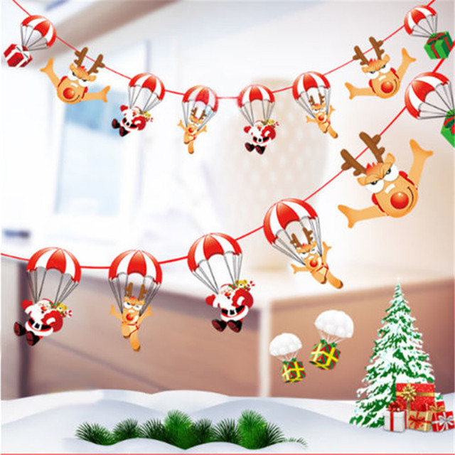 1pc christmas banner flag new year party decoration santa snowman parachute xmas tree dog flags garlands