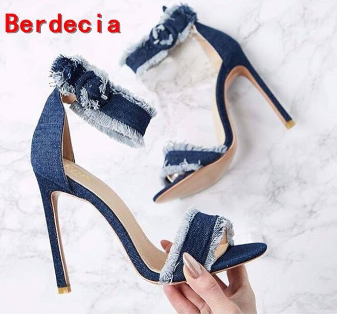 ФОТО 2017 Summer Newest Woman Jeans Sandal Sexy Open Toe Ankle Strap Shoes Denim Blue Super High Thin Heels Sandal Gladiator Sandal