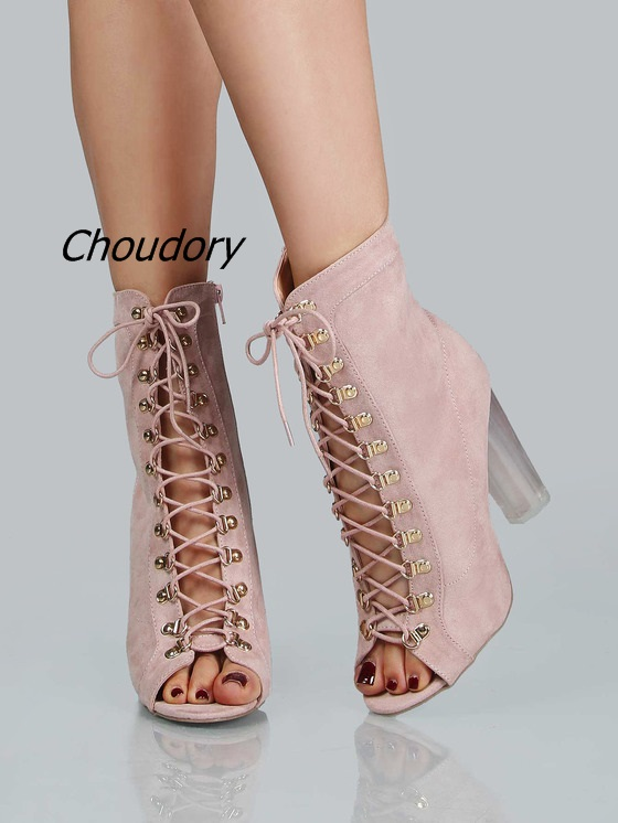 Trendy Pink Faux Suede Open Toe Lace Up Booties Women Cross Strap Clear Block Heel Ankle Boots Fashion Chunky Heel Dress Shoes fancy cross strap peep toe block heel dress shoes pretty women olive suede cut out lace up high heels classy chunky heel pumps
