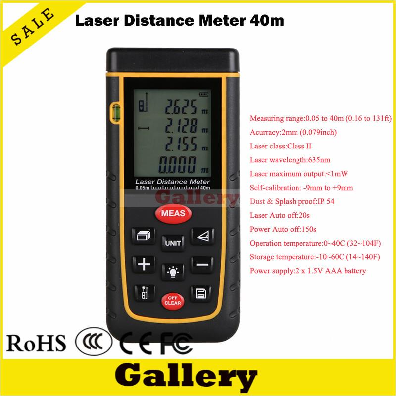 distance meter 40m Laser distance meter with bubble level Rangefinder RZA40 Range finder Tape measure Area/Volume m/ft/in Tool laser range finder 40m 60m 80m 100m digital laser distance meter tape area volume angle engineer measure construction tools