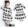 Summer Girl casual Dress Bobo Choses Baby Girls Shorts Sleeve Dress Kids Bear Printed Dress Toddler Robe Fille Costume