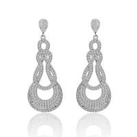 2016 Luxury Dangle crystal earrings silver zirconia bridesmaid earrings for women Wedding Jewelry Vintage Accessory