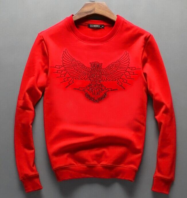 Men Hip Hop Pullover Sweatshirts Hoodies Diamond Design 2019 Winter Casual Plain Cotton Thick Sweatshirt