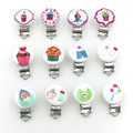 47 pattern  50pcs Baby Pacifier Clips Round with Metal Holders Kids Feeding 4.4cm x 2.9cm baby birthday gift WC040