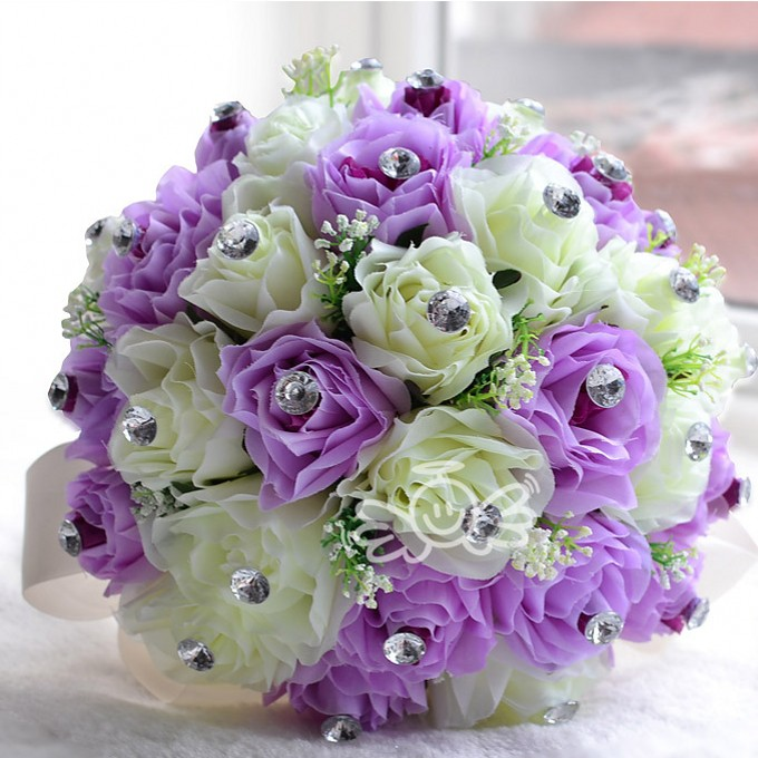 Pink Purple Cream Champagne Romantic Wedding Bouquet Silk Rose Bridesmaids Flowers With Leaf Bridal Bouquets Bridesmaid In From